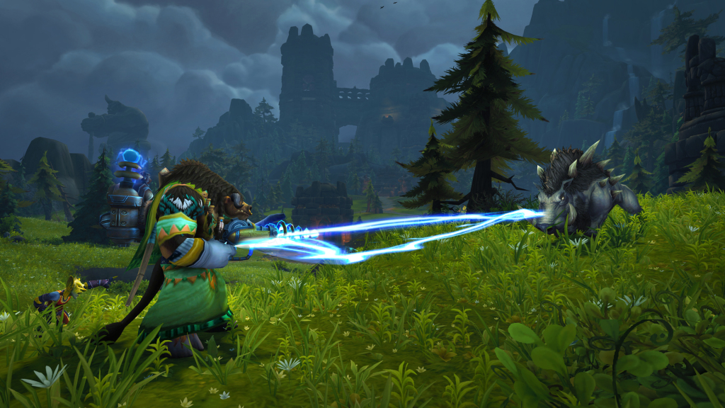 Fighting a board on Exile's Reach in Warcraft Shadowlands.