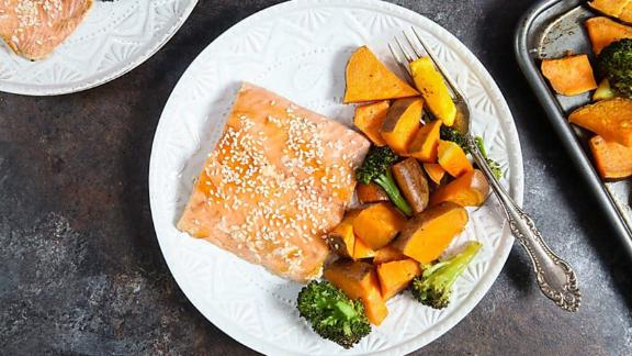 One Pan Orange Salmon With Sweet Potatoes + Broccoli