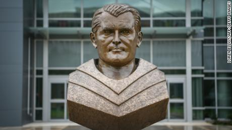 A bust of Wernher von Braun at the administration complex of NASA's Marshall Space Flight Center on July 17, 2019, in Huntsville, Alabama.