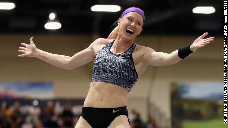 Sandi Morris reacts during a competition in Albuquerque, New Mexico, earlier this year.