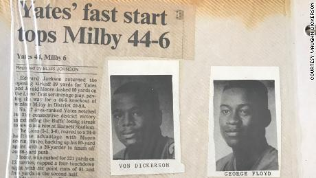 This newspaper clipping shows Vaughn Dickerson and George Floyd.