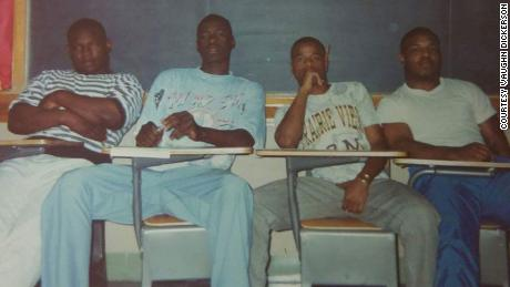 George Floyd, second from left, and, to the right, Vaughn Dickerson.