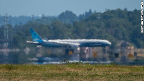 Heat eminates from a runway at Boeing Field in Seattle.
